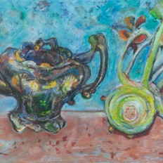 Teapot with turnip and orange