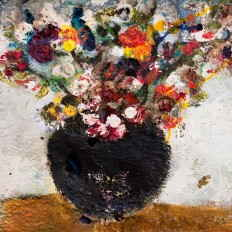 Flowers in black vase